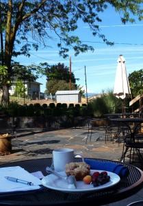 Breakfast in a relaxing sunny spot